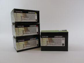 Genuine Lexmark 24B5587 24B5588 24B5589 24B5590 CMYK Toner Set XS544 XS548