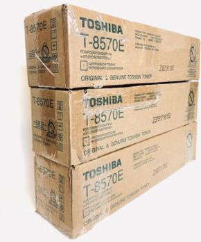 Lot of 3 Genuine Toshiba T-8570E Black Toner 6AK00000289